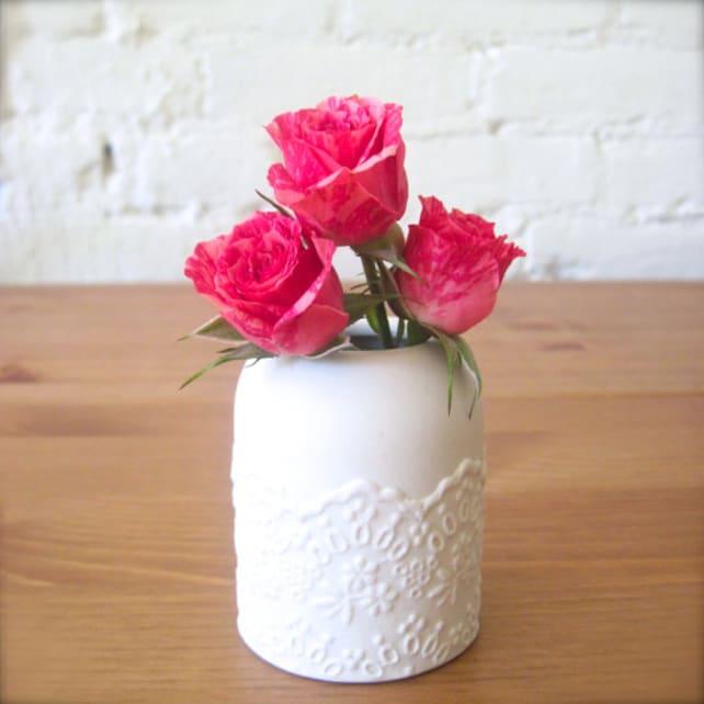 Lovely Porcelain Lace Mini Flower Vase Hideminy Lace Series Etsy