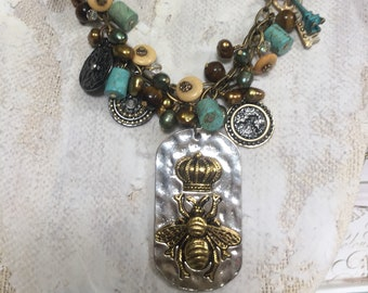OOAK Bee Charm Necklace, One of a Kind Assemblage Pendant, Queen Bee Jewelry