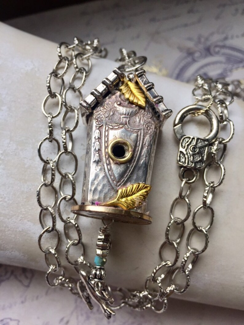 One of a Kind Pendant Assemblage Flatware Birdhouse Pendant Bird Lover Jewelry