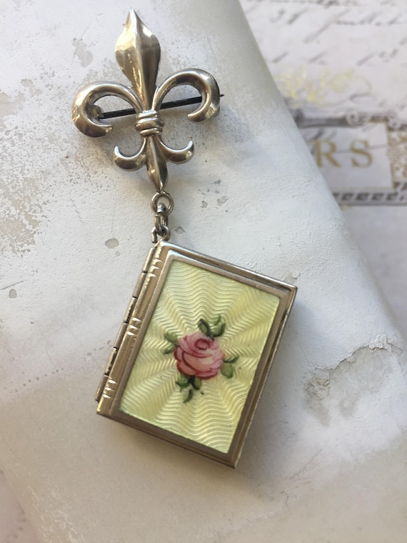Sterling Silver Book Locket, Rose Guilloche Locket