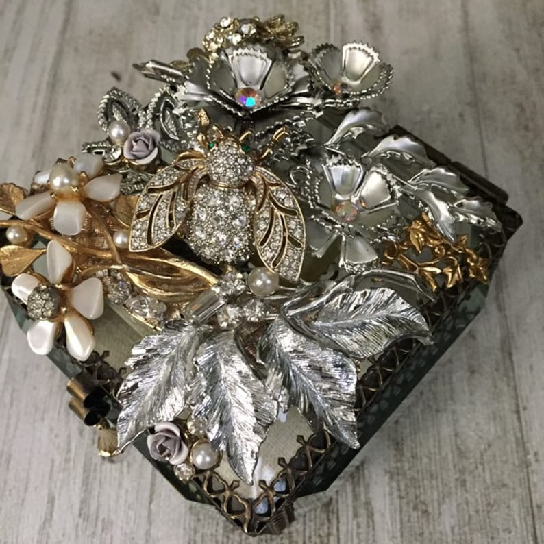 OOAK Hand Crafted Assemblage Box Vintage Jewelry Collage Box Memory Keepsake
