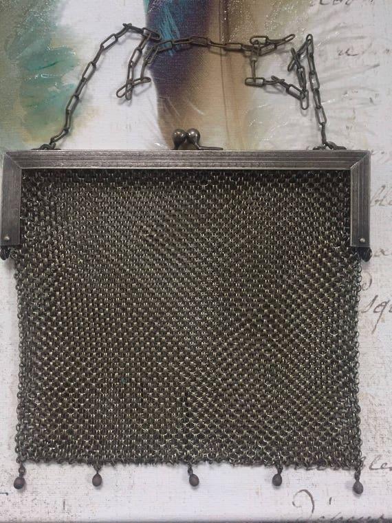 Antique German Silver Mesh Purse, Vintage Wire Mes