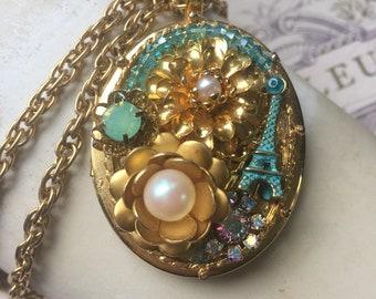 One of a Kind Assemblage Locket Necklace, Paris Floral Locket