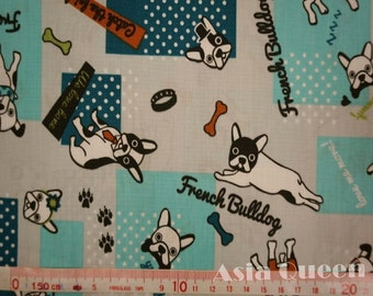 """Cotton fabric - Kawaii French Bulldog - 1 yard - 3 colors - animal - dogs - sewing - Check out with code """"5YEAR"""" to save 20% off"""