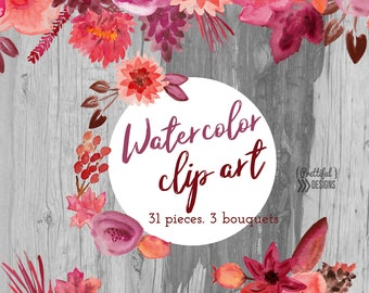Fall Watercolor Flower Clip Art Commercial Use Burgundy Reds Orange Brown Leaves Watercolor Clipart