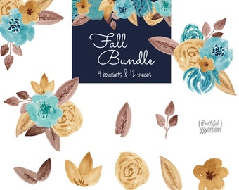 Fall Watercolor Flower Clip Art Commercial Use Autumn Floral Clipart Mustard, Brown, and Blue