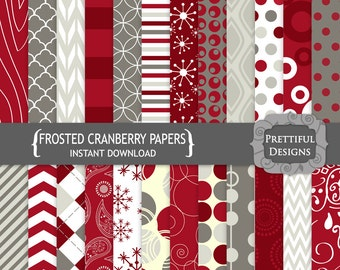 Digital Scrapbooking Papers - Frosted Cranberries