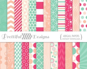Digital Scrapbooking Paper Pack Commercial Use - Abigail