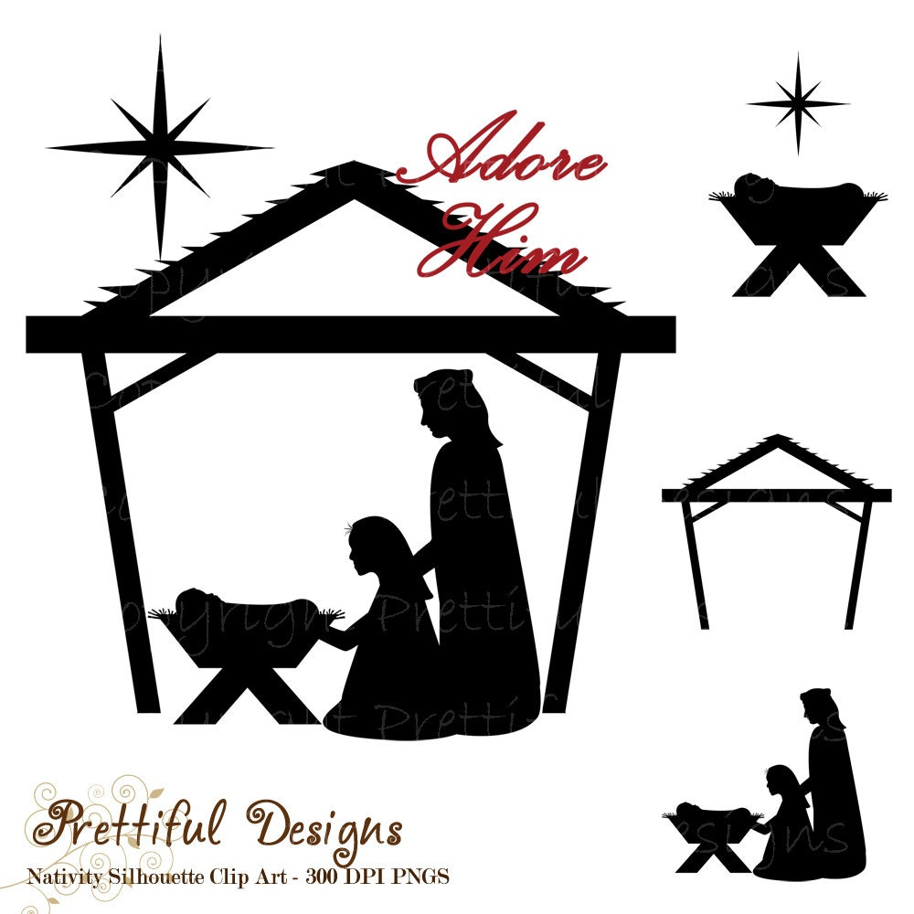 Krippe Silhouette Clip Art Weihnachten ClipArts für den   Etsy