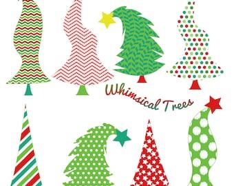 Christmas Whimsical Trees Clip Art