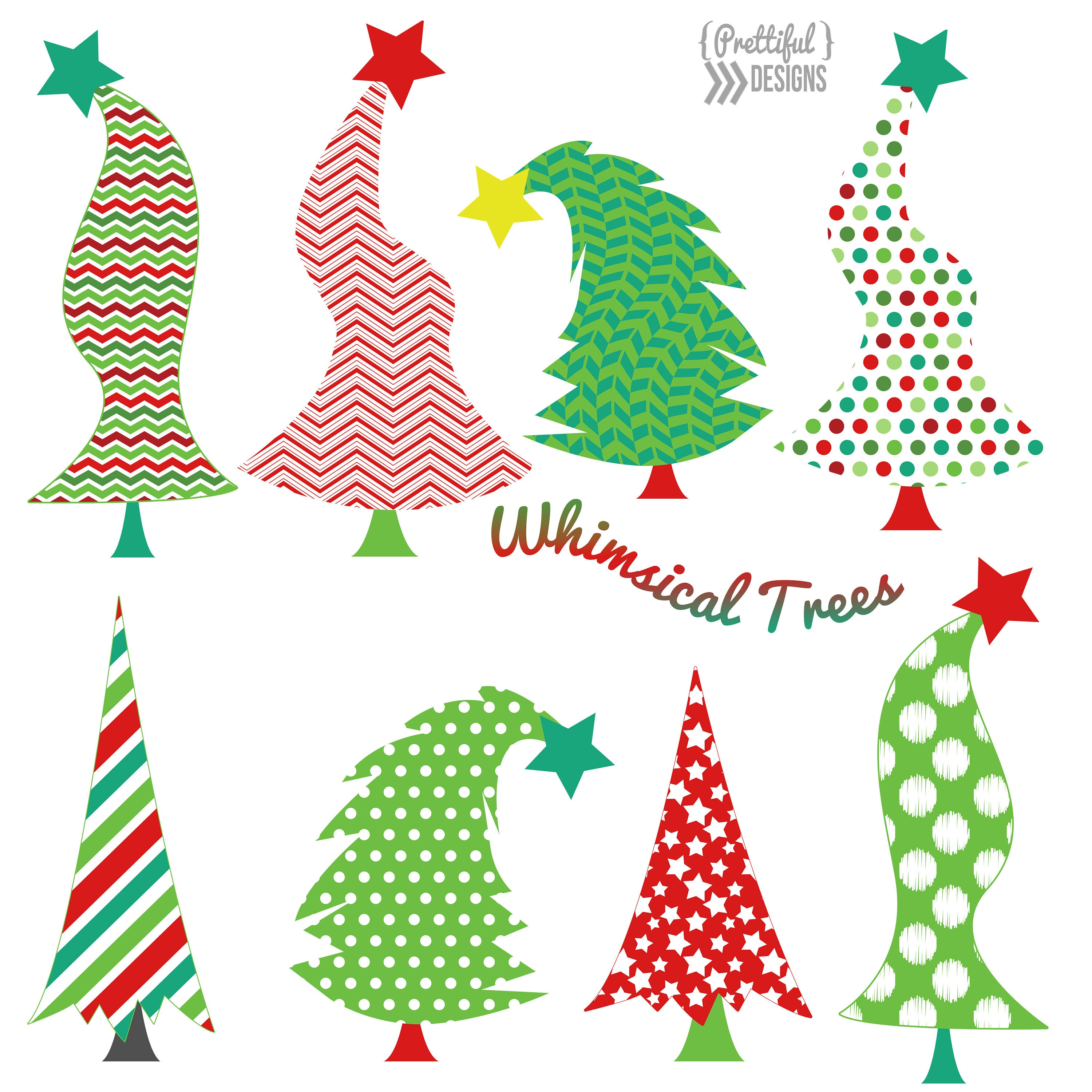 Christmas Tree Cliparts: Christmas Whimsical Trees Clip Art