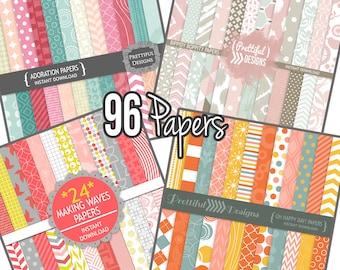 Commercial Use Digital Paper Bundle Girl Colors