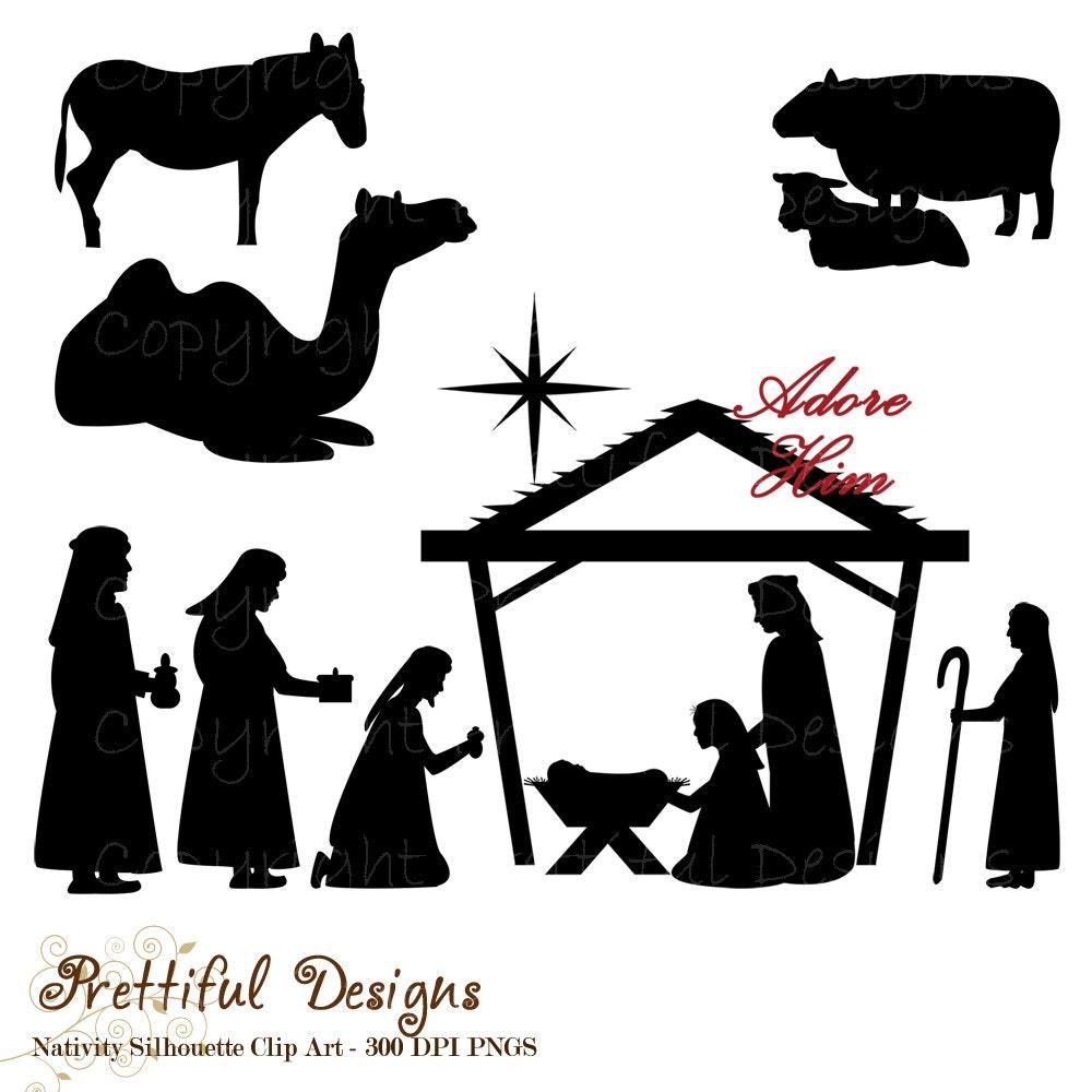 Weihnachten Krippe Silhouette Clip Art für den gewerblichen | Etsy