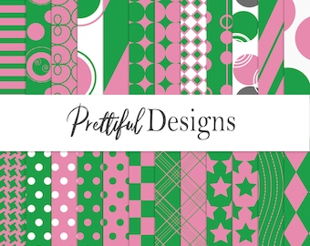 Pink and Green Modern Christmas Digital Paper Scrapbook Background Paper