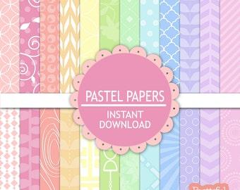 Pastel Digital Scrapbook Paper Pack, Pastel Printable Paper Pack, Instant Download, Commercial Use