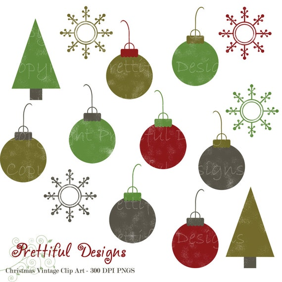 Christmas Ornament Clip Art - for Personal and Commercial Use - Noel
