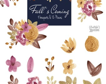 Mustard and Brown Fall Watercolor Flower Clip Art Commercial Use Autumn Floral Clipart
