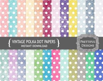 Digital Paper Pack Vintage Polka Dot Grunge Texture Set 1