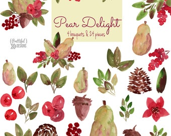Pear and Berries Watercolor Flower Clip Art Commercial Use Autumn Winter Christmas Water Color Floral Clipart