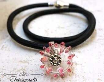 Lampwork and black leather bracelet, pink, OOAK, SABRLWCU06