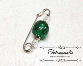 Green iridescent lampwork glass bead brooch, shawl pin, OOAK, SAFI11