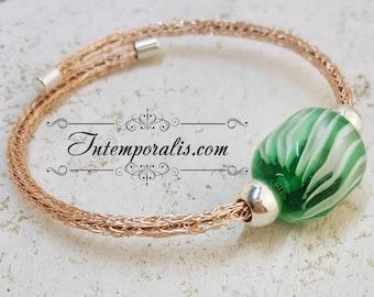 Green lampwork bead and viking knit bracelet, OOAK, SABRVI10