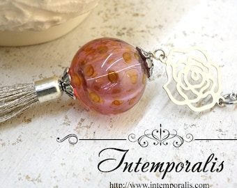 Long Chain tassel Murano Glass Necklace, Handmade lampwork Murano hollow bead glass, OOAK, SASA07