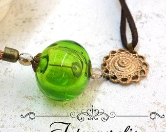 Long Chain tassel Murano Glass Necklace, Handmade lampwork Murano hollow bead glass, OOAK, SASA04