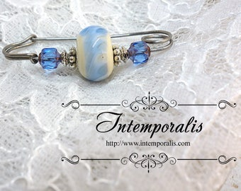 Blue and ivory lampwork glass bead brooch, shawl pin, OOAK, SAFI05