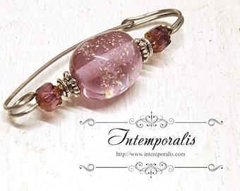 Pink iridescent lampwork glass bead brooch, shawl pin, OOAK, SAFI12