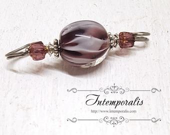Purple and white lampwork glass bead brooch, shawl pin, OOAK, SAFI13