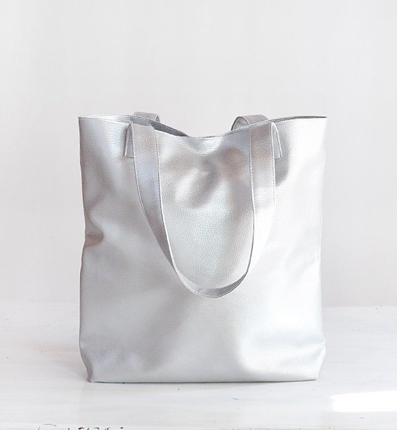 Vegan Silver leather tote minimalist bag metallic tote bag