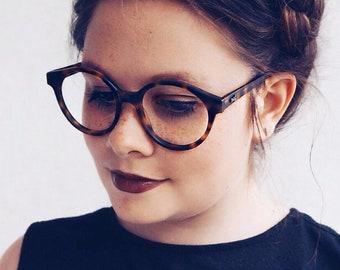 brown tortoise round glasses - large vintage eyeglasses for him and her - oversized eye glasses frames - sting matte brown