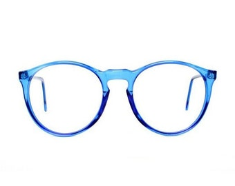 31356ab70 vintage blue round glasses - oversized eyeglasses - transparent 80s eyeglass  frames - cobalt blue frame - mens and womens - azul