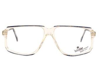 b8bb1fe4d833 blue vintage eyeglasses - dark blue transparent glasses - midnight blue 80s  deadstock clear frame - cazal style mens glasses frames