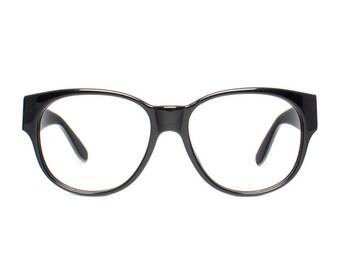a575d71f4f1 large vintage eyeglasses - oversized black glasses frames - original 1980s  eyewear - square nerd glasses - Skindo