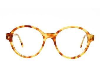 oversized round glasses frames - vintage tortoise eyeglasses - light brown transparent vintage glasses - panto eyeglass style - Bowie Pastel