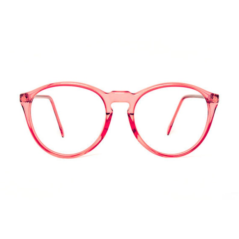 e588ebaa3d Vintage pink transparent round glasses frames mauve red
