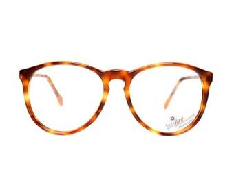 80s glasses frames brown round tortoiseshell - vintage eyeglasses for men and women - new deadstock - panto model tortoise shell 658