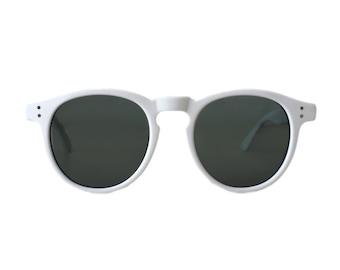 vintage round white sunglasses - oversized mens sun glasses - large 80s hipster frames - gift for him - harold