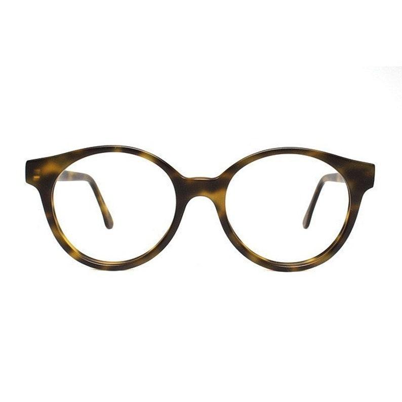 jade brown tortoise vintage eyeglasses  oversized round image 0