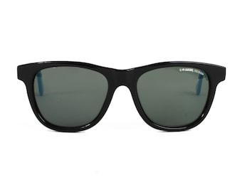 vintage Black sunglasses Blue temples - vintage square sunglasses - 80s hipster style sun glasses by la gear