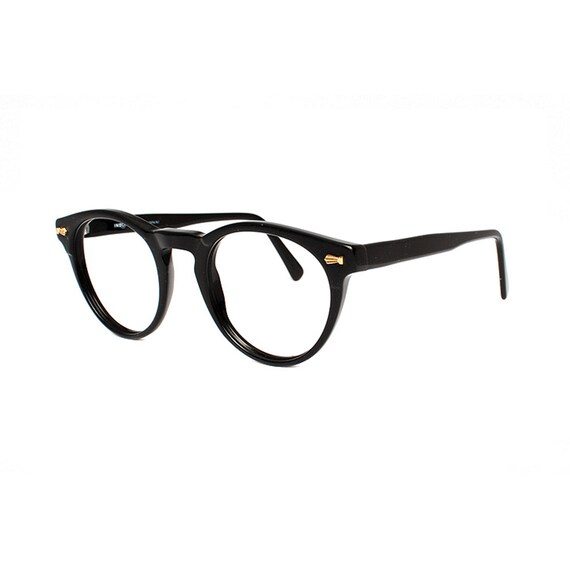 Vintage black glasses round frame eyeglasses new old stock | Etsy