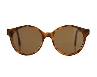 large brown round sunglasses - vintage tortoise sunglasses for men and women - original 80s vintage eyewear - sting habana