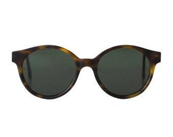 vintage tortoise round sunglasses - oversized sun glasses for men and women - original 80s - hipster - jade matte sting