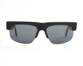 SALE black sunglasses for men - 90s vintage sunglasses - square flat top style - semi-rimless mens sunglasses - 80s 90s fashion - B grade