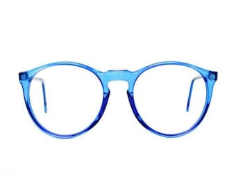 vintage blue round glasses, oversized eyeglasses, transparent 80s eyeglass frames, cobalt blue frame, mens and womens, azul spectacles