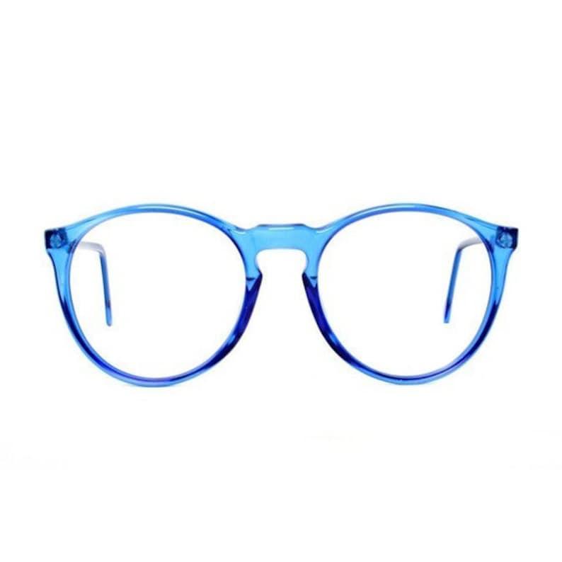 vintage blue round glasses oversized eyeglasses transparent image 0