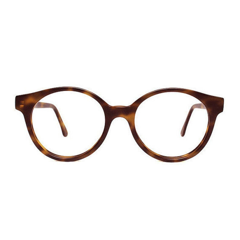 9eed737870 Brown tortoise round glasses large vintage eyeglasses for