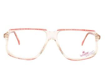 pink transparent vintage eyeglasses - 80s new 1980's deadstock glasses - mauve eye glasses frame - affordable - prescription